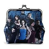Cartera de cuero con hebilla de flor Resident Evil para monedero retro con cierre de beso, bolsa de regalo para cosméticos