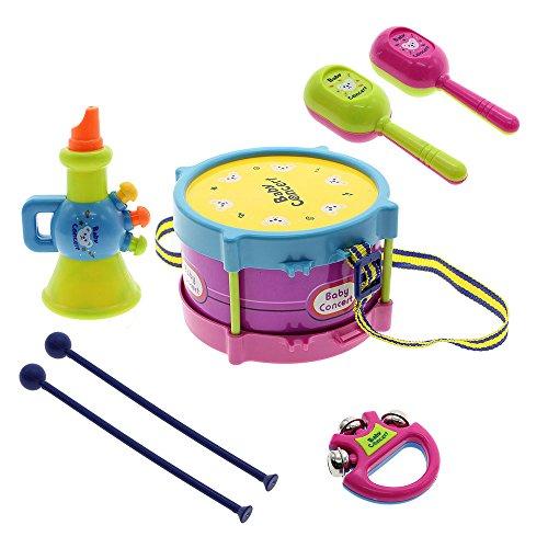 5 pièces tambour Clochette à main Trompette Instruments de musique Jouets Enfants Bébé