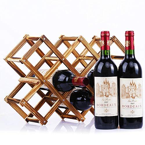 XKMY Housewares - Portabottiglie pieghevole in legno, per bottiglie di vino, in legno, con ripiani in legno, per bottiglie di vino rosso (colore: 10 bottiglie anticate)