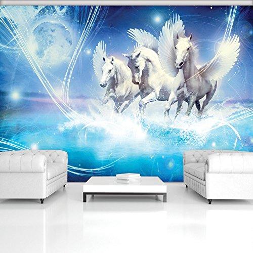 FORWALL Fototapete Vlies - Tapete Moderne Wanddeko Pegasus auf blauem Hintergrund VEXXL (312cm. x 219cm.) AMF588VEXXL Wandtapete Design Tapete Wohnzimmer Schlafzimmer