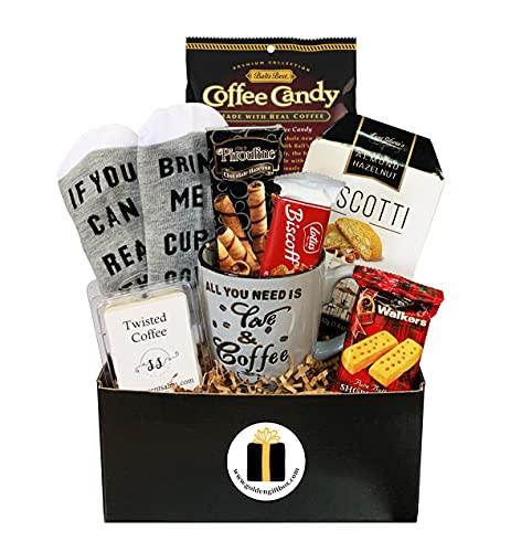 Coffee Gift Basket - Bistro Coffee Mug, Socks, Gourmet Coffee Snacks - Coffee Gifts For Women - Coffee Gifts For Men