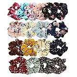 18 pièces cheveux chouchous bandes de cheveux élastiques cravates pour cheveux accessoires de support de queue de cheval pour femmes ou filles (Style 1)