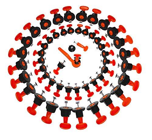 Dispositivo di livellamento piastrelle QUANHAO, sistema di livellamento piastrelle da 50 pezzi con chiave speciale, livellatore di posizionamento piastrelle riutilizzabile. (Livella)