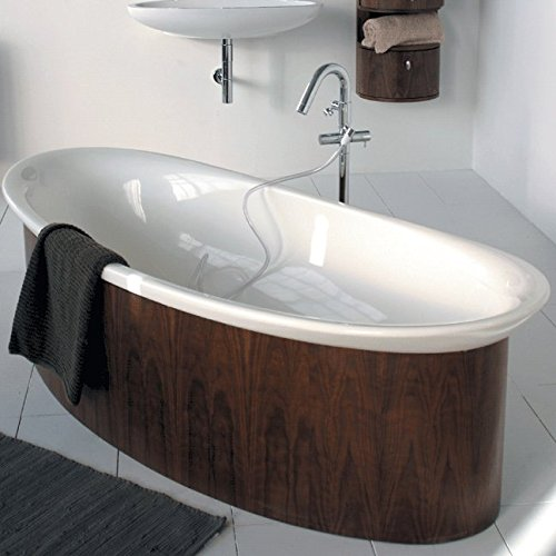 Fantastic Prices! Free-standing wooden skirt for bathtub 6059, 70W, 32 5/8D, 18 3/4H, Ardesia wit...