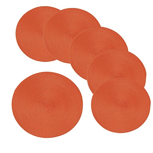 Xnferty 6 Pack Woven Round Table Placemats, Stain Resistant Braided Edge for Indoor Outdoor Decor Braided Placemat Circle Coaster Diam15 (Orange)