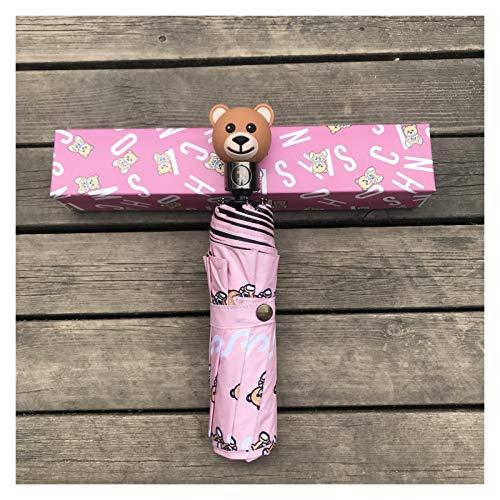 YNLRY Paraguas de oso automático 30% plegable, con caja de regalo para hombres y mujeres, paraguas general (color rosa