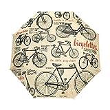 Arte De La Bicicleta Antigua Paraguas Plegable Hombre Automático Abrir y Cerrar Antiviento Ligero Compacto Paraguas para Viajes Playa Mujeres Niños Niñas