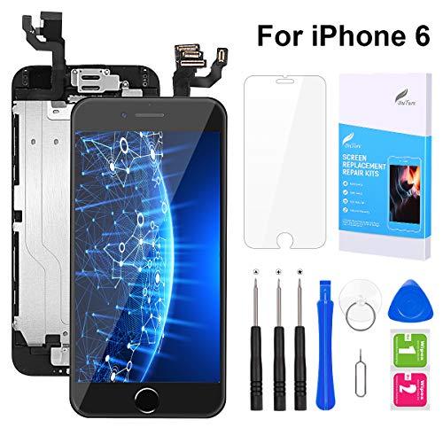 BuTure Für iPhone 6 Display Schwarz, iPhone 6 Touchscreen Digitizer Vormontiert mit Home Button, Hörmuschel, Frontkamera Ersatz Bildschirm Glas und Reparaturset Komplettes Kostenlose Werkzeug