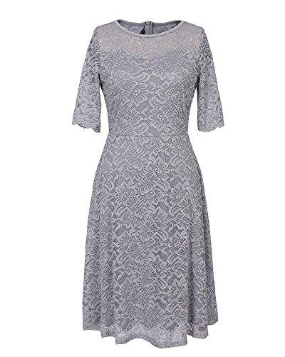 Abendkleid Vintage Off Schulter Knielang A-Linie Cocktailkleid Retro Spitzen Kleid Damen Silber-Grau...