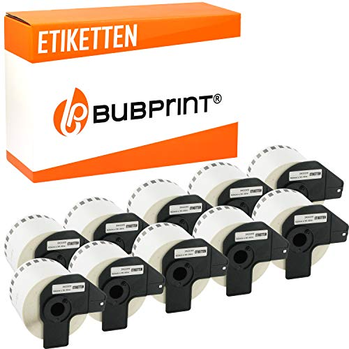 Bubprint Kompatibel Etiketten als Ersatz für Brother DK-22205 für P-Touch QL500 QL500BW QL550 QL560 QL570 QL700 QL710 QL710W QL720NW QL800 QL810W QL820 QL820NWB QL820NW QL1060N QL1100 10er-Pack