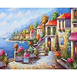 Kits de pintura acrílica al óleo Seaview Diy por números, pintura abstracta para adultos con conjunto de números en lienzo, pintura, caligrafía