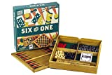 Professor Puzzle Wooden Games Compendium - Portable Six in One Combination Game Set - Checkers, Chess, Backgammon, Pick-up Sticks, Cards & Dominoes Set.