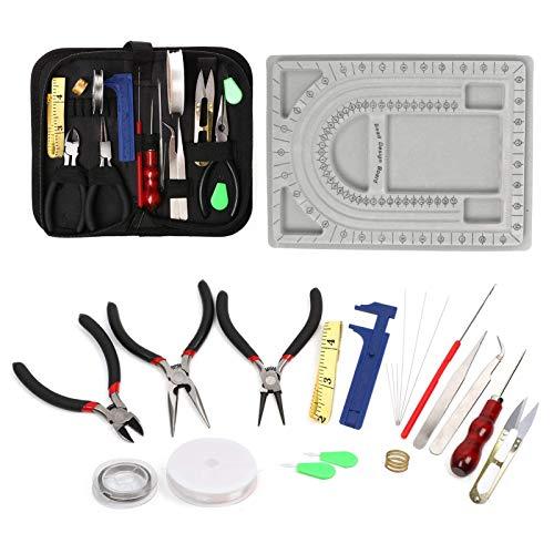 Kit de herramientas para bisutería, kit de reparación de joyas de 23 piezas con tablero de diseño de cuentas, herramientas de joyería, cuentas, pulseras, collares, proyectos de manualidades