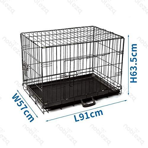 Nobleza - Jaula Metálica para Perros, Transportín Plegable Mascotas, Jaula para Mascotas con 2 Puertas, Bandeja Base de Plástico Resistente a la Masticación y Asa de Transport - 91x57x63,5cm Negro