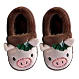 Toddler Kids Cute Animal House Slippers Boys Girls Fuzzy Fluffy Home Slippers Winter Fleece Lined Indoor Shoes Pig Coffee 10-11 Toddler