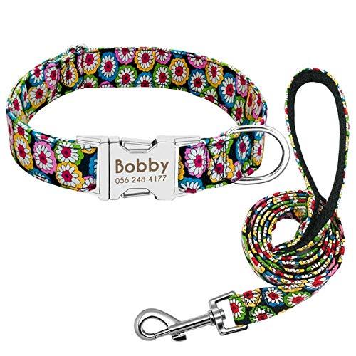 Mdsfe Collar de Perro Personalizado Nylon Cachorro Gato Collar de Perro Collar Cuerda de tracción Collar de Mascota Personalizado Ajustable para Perros medianos a Grandes - Rojo, M