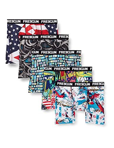 FREEGUN Set 5 PCS Calzoncillos Boxer, Multicolore, M Homme