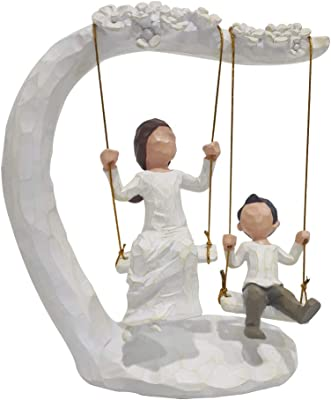 jinhuoba Mother and Son Figurines, Hand Painted Mon and Son Swing Sculptures to Remember Great Moment
