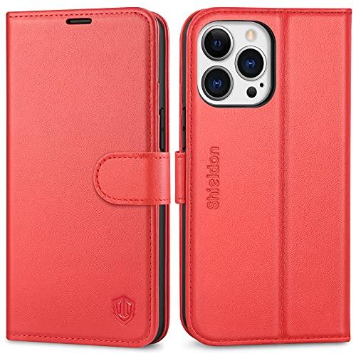 SHIELDON Hülle für iPhone 13 Pro, Stoßfeste Echte Lederhülle [Lifetime Garantie] [4 Kartenfächer] [Magnetverschluss], TPU Klapphülle Schutzhülle RFID Handytasche Kompatibel mit iPhone 13 Pro 6,1 Rot