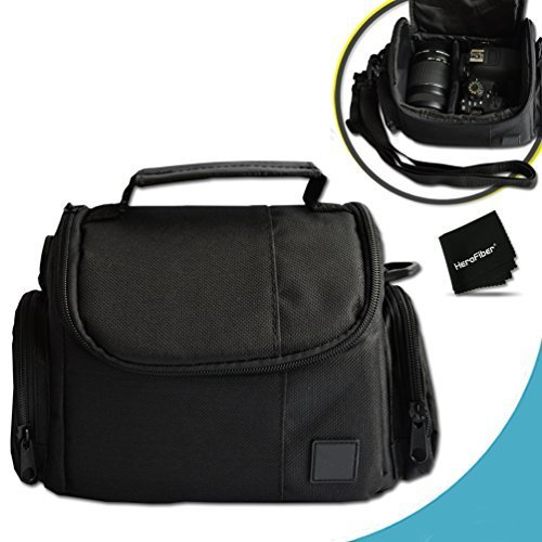 Well Padded Fitted Medium DSLR Camera Case Bag w/ Zippered Pockets and Accessory Compartments for Nikon D500, D750, D7200, D7100, D7000, D810, D810A, D800, D610, D600, 1 V1, D4, D4S, D3, D3X, D3S, D3300, D3200, D3100, D5500, D5300, D5200, D5100 DSLR Cameras