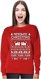 Tstars Meeowee Ugly Christmas Sweater Style Funny Women Sweatshirt