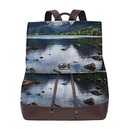 Rucksack Damen Schöne Norwegen Landschaft, Leder Rucksack Damen 13 Inch Laptop Rucksack Frauen Leder Schultasche Casual Daypack Schulrucksäcke Tasche Schulranzen