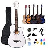 38 Pulgadas Guitarra acústica Kits para principiantes Rosefinch 3/4 cutaway Folk Guitarra Bundle Regalo para niños (púas, capo, cuerdas, afinador, correa.) blanco