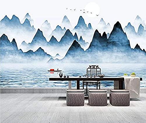 Papel pintado de agua de río de montaña de tinta azul pintado a mano Pared Pintado Papel tapiz 3D Decoración dormitorio Fotomural de estar sala sofá mural-430cm×300cm