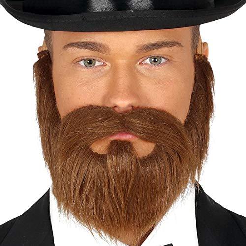 NET TOYS Vollbart Baron mit Schnurrbart | Braun mit Gummiband | Extravagantes Herren-Kostüm-Zubehör Fake-Bart Edelmann | Geeignet für Mottoparty & Themenabend