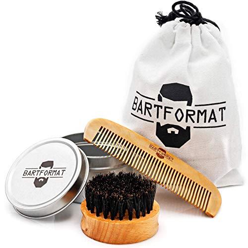 Bartformat Bartpflege Set Zartmacher Bartkamm und Bürste I Bartbürste aus Wildschweinborsten und Kamm aus Birnbaumholz I Bart Set für einen gepflegten Bart