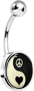 Unisex Adult Glow in The Dark Yin Yang Peace Heart Belly Button Ring