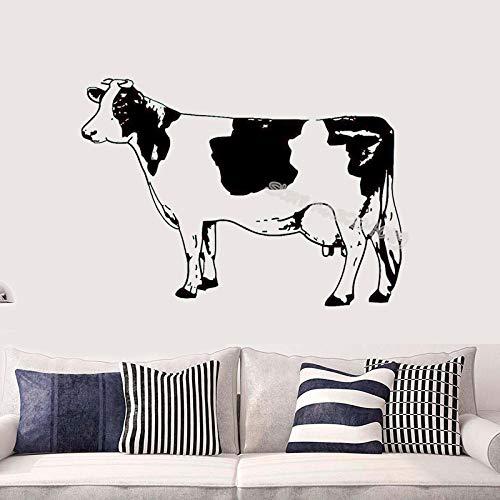 Leuke cartoon koe dier muursticker decoratie kamer muurschildering zelfklevende vinyl sticker behang EA212 @ donkerblauw_112x80cm