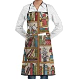 Drempad Tabliers Adjustable Bib Apron with Pockets - Commercial Restaurant and Home Kitchen Apron - Nerd Book Lover Kitty Sleeping Over Bookshelf in Library Academics Print