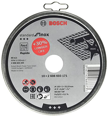 Bosch Professional 10 discos de corte Standard for Inox en lata metálica (para acero inoxidable, Ø 125 mm, recto, accesorio para amoladora)