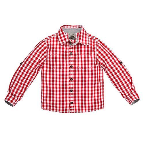 BONDI Kinder-Trachtenhemd aus Baumwolle Gr. 152 I Schönes Jungen-Hemd in Rot-Weiß I Hemd Jungen, kariert I Kinderhemd aus Webware I Wunderschöne & Bequeme Kinderbekleidung