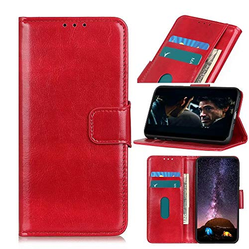 FanTing Capa compatível com LG G8 ThinQ, capa flip com [compartimento para cartão] [suporte] [carteira], capa carteira magnética de couro PU para LG G8 ThinQ. (vermelha)
