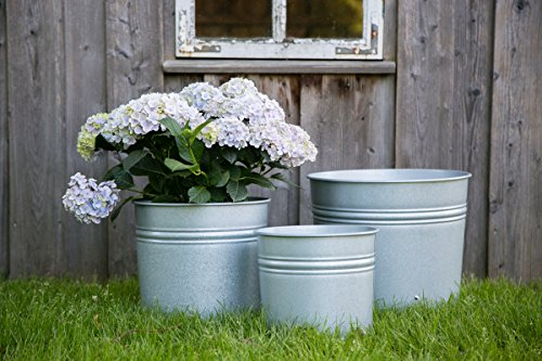 KUHEIGA Pflanztopf in versch. Ausführen, Verzinkt + Antikzink Blumentopf aus Metall