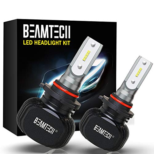 BEAMTECH 9005 LED Bulb, Conversion Kit Fanless Quieter CSP Chip Xenon White All In One Halogen Replacement Focused Pattern Low Fog...