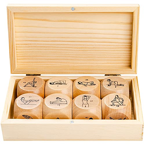 Eight 1.25 Inch Yoga Dice in Engraved Wooden Gift Box - Just Roll to Create a Unique Full-Body Yoga Fitness Routine in Seconds - Improve Flexibility and Feel Better with Quick Yoga Workouts