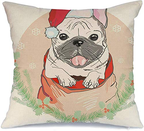 Decorative Linen Square Throw Pillow Cover Black Cute Trendy French Bulldog Red Christmas Animals Wildlife Accessory Cap Design Character Dog Cozy Cushion Pillowcase Case for Couch Car 20 x 20 Inch