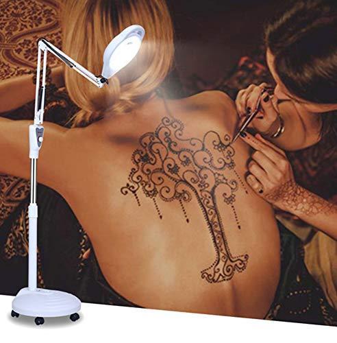 Lupa 8X Led Lámpara Lámpara de piso con Soporte Laminado Para Uso Móvil Rotación 360 Ajuste De Abajo La Belleza Tatuaje Manicura Para Salón De Belleza Clínicas/white