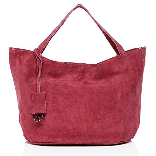 BACCINI® Borsa a mano vera pelle SELMA grande borsettamanico borsa a spalla donna cuoio rosa