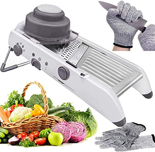 Labeol Adjustable Mandolin Slicer Professional 18 in 1 Vegetable Cutter Stainless Steel Multi Functional Grade Julienne Food Slicer Cut Chopper with Proof Gloves Cutter Slicing Fruit Vegetables