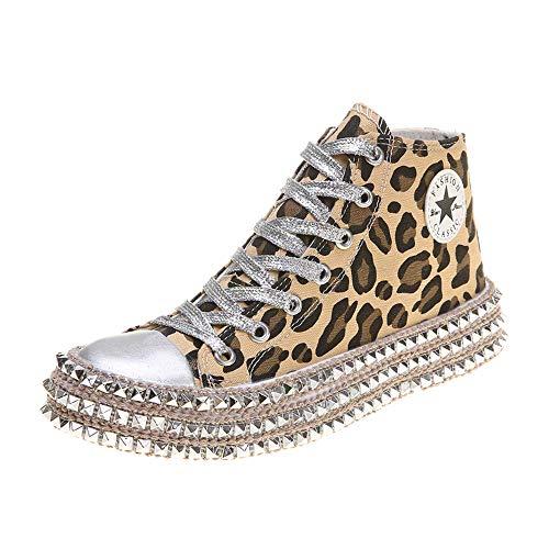 JXILY High-Top Pailletten Segeltuch Schuhe Frauen Niet Leopardenmuster Turnschuhe Flache Turnhalle Sport Leichte Laufschuhe,Leopard Print,38