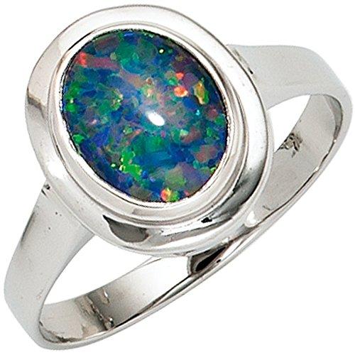 JOBO Damen-Ring aus 585 Weißgold mit Opal-Triplette Größe 58