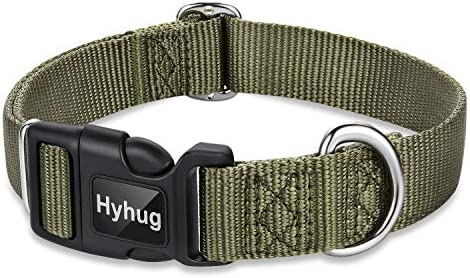 Hyhug Pets Classic Regular Heavy Duty Nylon Dog Collar Medium Military Green product image