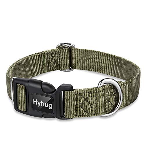Hyhug Tinta Unita Classico Regolare Collo Pesante per Cani di Taglia Media di Taglia Piccola, Regolazione del Design Unica. Scivolo in triglide (Fibbia). (Medio M, Verde Militare)