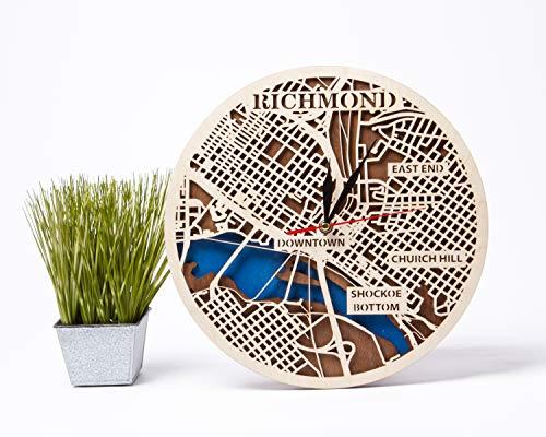 Wooden Evolution Richmond Holz-Wanduhr USA Decor Geburtstagsgeschenk für Mädchen Wanduhr mit Richmond Map Design 3D Holz Landkarte Uhr City Art kleine Skala Karte Geschenk Richmond 30,5 cm Holzuhr