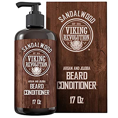 Beard Conditioner w/Argan & Jojoba Oils - Softens & Strengthens - Sandalwood Scent - Beard Conditioner w/Beard Oil (17oz Conditioner)