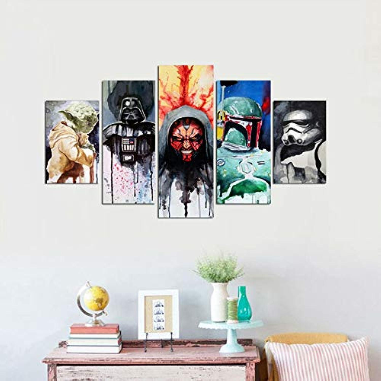 diseños exclusivos Xkkzka Decoración para El Hogar Arte De De De La Parojo Imágenes Modulares Posters5 Piezas HD Movie Star Wars Carácter Impreso Moderno Pintura Sala De Estar-Marco  para proporcionarle una compra en línea agradable